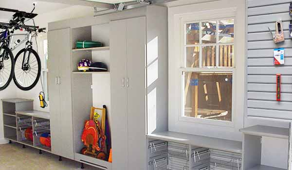 garage cabinet and pull out shelves and wire baskets