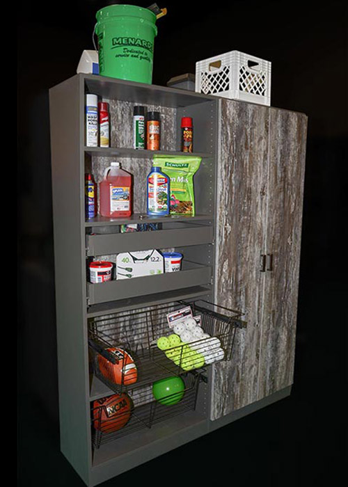 Garage cabinet in Intrigue thermally fused laminate and oil rubbed bronze hardware
