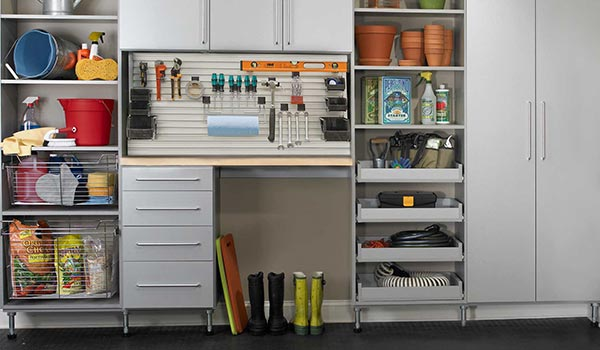 Garage organization and mud room combination system with integrated tool bench