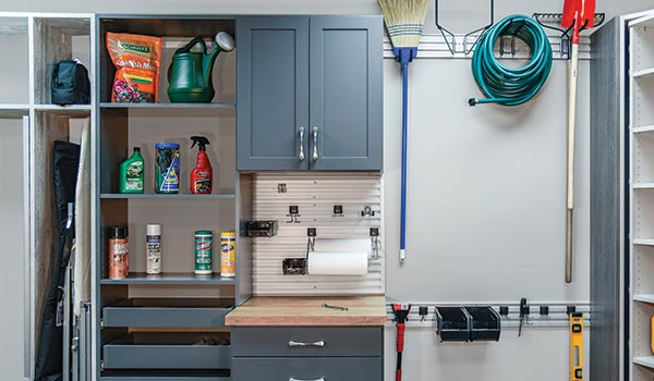 Custom Garages Storage System With Garden Tool Organization And Potting  Bench
