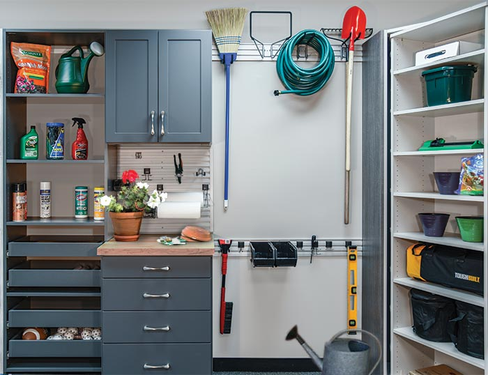 Custom garage organization system with storage for an for avid gardener