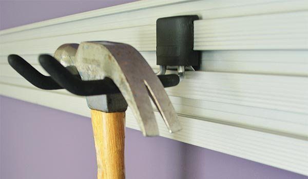 Garage accessories: Hook for hanging hammers, flashlights and brushes on the Omni Track System