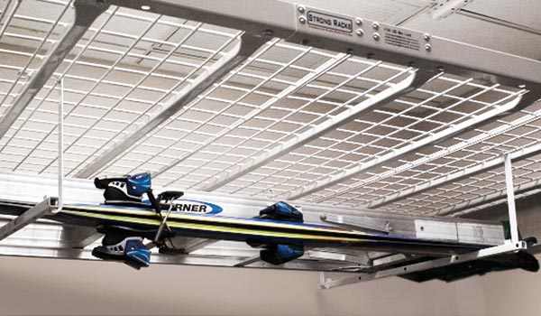 Garage accessories: Ladder and surf board hook for garage organization system