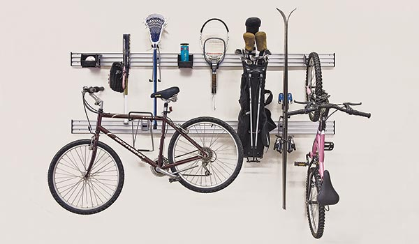 Sports kit garage accessory for Omni Track garage organization system