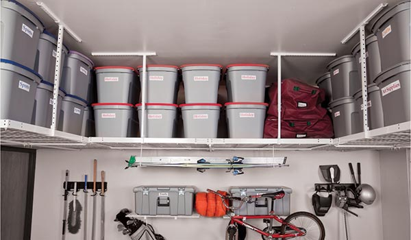 Garage accessories: overhead storage racks for garage organization system