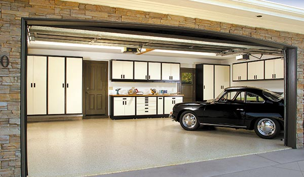 garage with custom cabinets