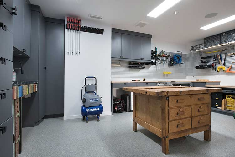 Custom woodworking basement workshop