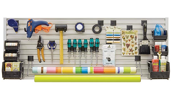 Work bench and craft bench garage accessory kit for Omni Track organization system