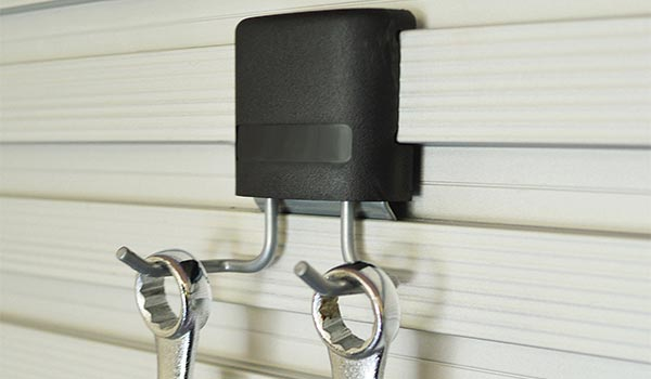 Garage accessories: Hook for storing wrenches or keys on the Omni Track garage organization system