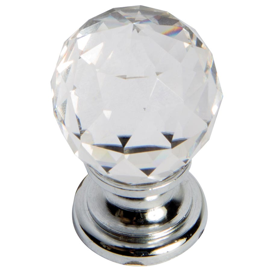 polished chrome Swarovski round knob