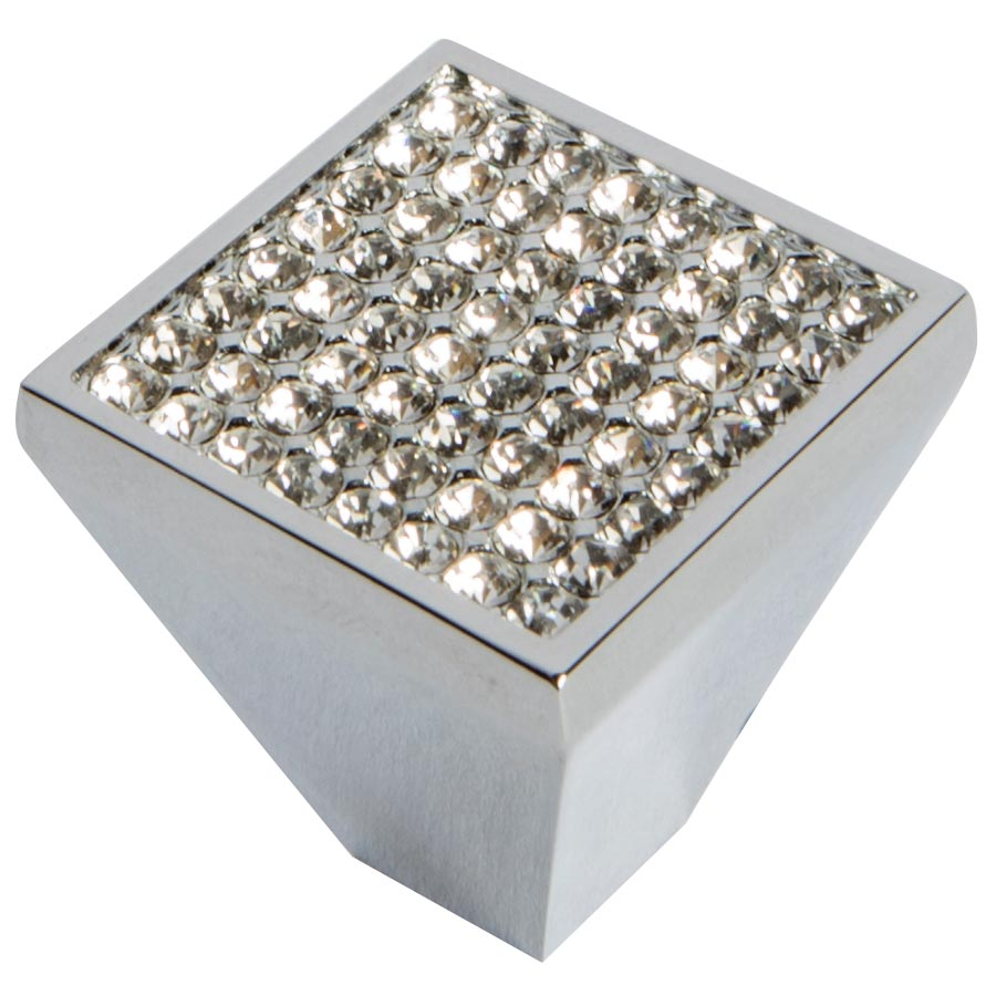polished chrome Swarovski mini crystal knob