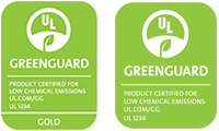 Greenguard certification logos from Underwriters Laboratories