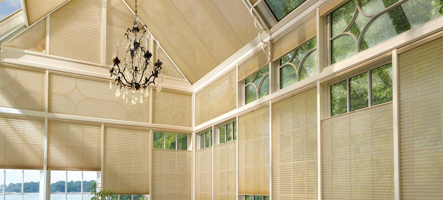Hunter Douglas cellular honeycomb shades with SkyLift operating system