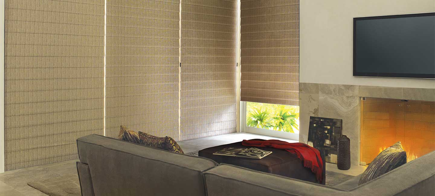 Hunter Douglas Vignette Roman window shades in the Alustra fabric collection
