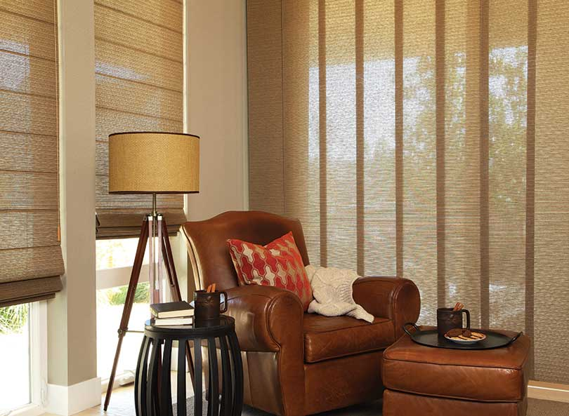 Woven Textures by Hunter Douglas Roman shades and Skyline Gliding Window Panels