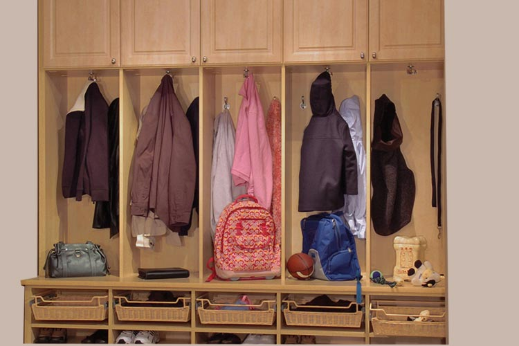 Family Mudroom Custom Storage With Backpack And Coat Cubbies For Each Child