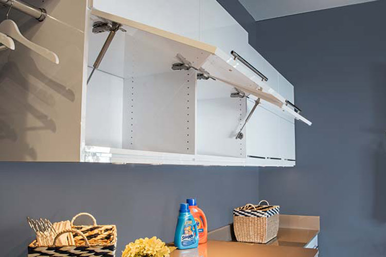 custom laundry room overhead cabinets in high gloss laminate