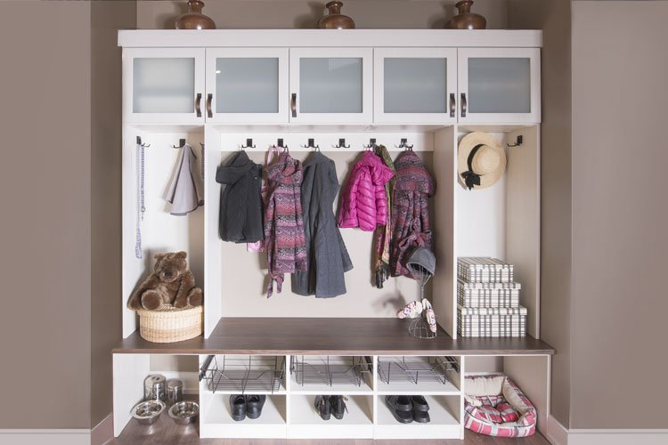 custom mud room with plenty of storage for an entire family