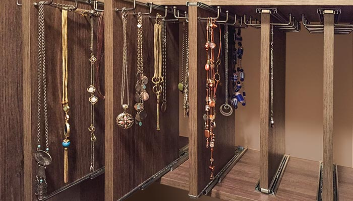 Custom jewelry organizer in Cocoa Bean thermally fused laminate - TFL
