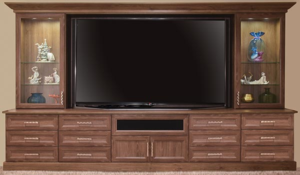 Media Center for 90-inch tevision in Cocoa Bean TFL laminate