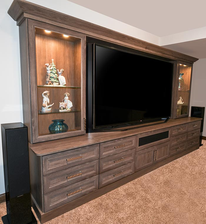 Media center and family friendly home theater organization system in tradional style