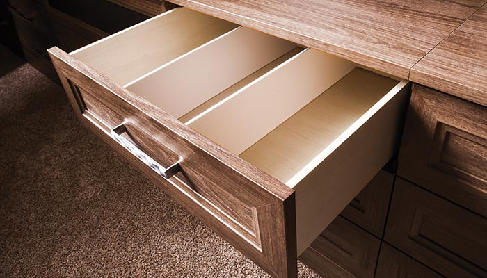 Detail of dvd drawer organizer insert