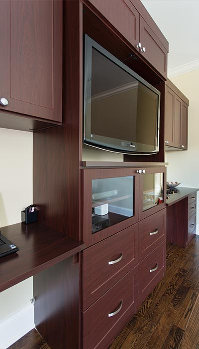 Great Media Center And Wall Unit Designed For A Master Bedroom Suite With A  Vanity For Her