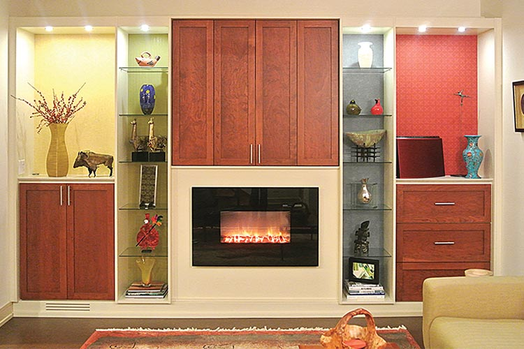 Custom media center and fireplace wall unit organization system - doors closed