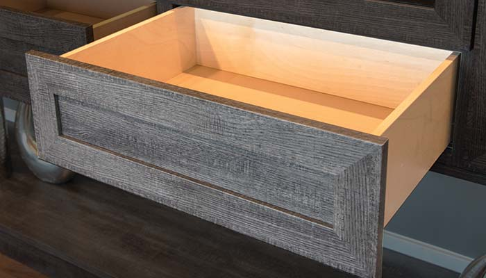 undermount drawer with soft close for floating media center