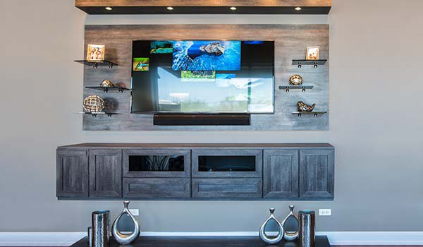 Custom media center with floating appearance