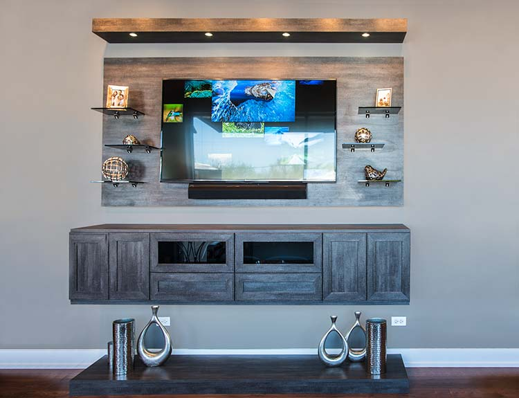floating media center with floor base