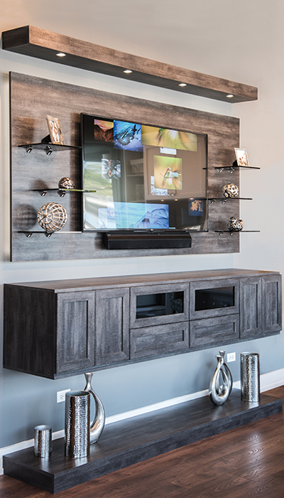 Floating media center with LED lighting in Vintage thermally fused laminate - TFL