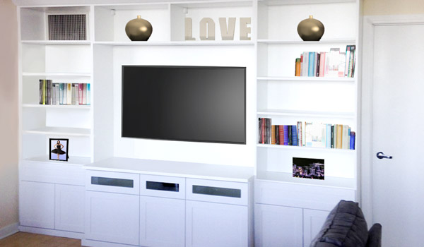 Custom family room entertainment center for all things media-related