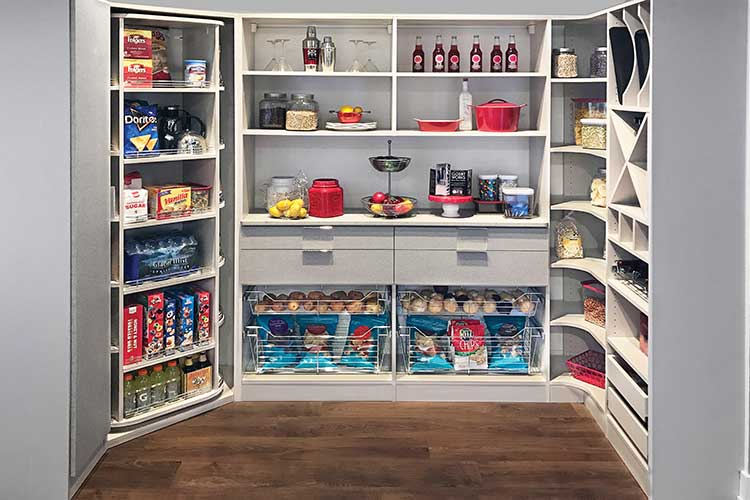 Custom storage with 360 Organizer rotating pantry closet in corner