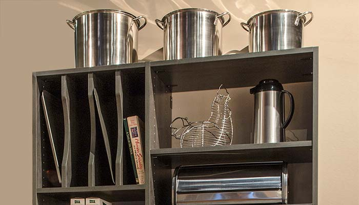 Pantry shelves and organizer for trays, broiler pans, and cookie sheets