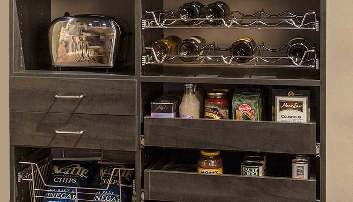 Pull out shelves for pantry, bottle organizers and drawers for organizing small food stuffs