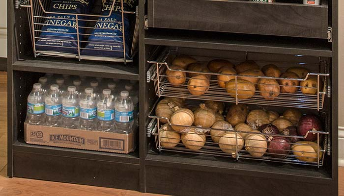 Pull-out pantry baskets for root vegetables