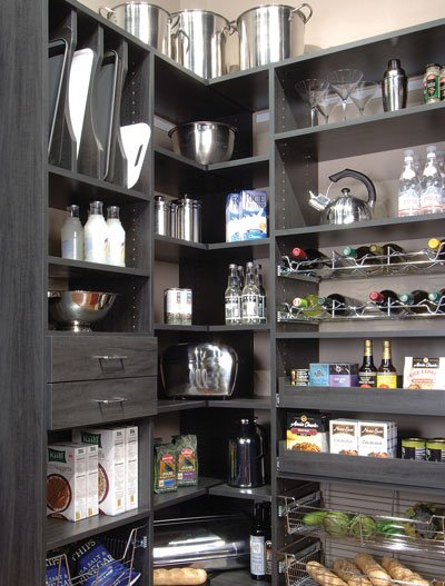 Corner pantry design in gray with drawers, pull-out pantry shelves, wine racks, baskets, tray organizer