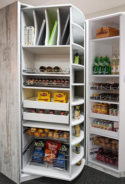 Rotating pantry closet organizer with pull-out pantry shelves and accessories