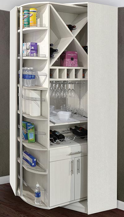 The 360 Organizer in a custom pantry closet organization system configuration
