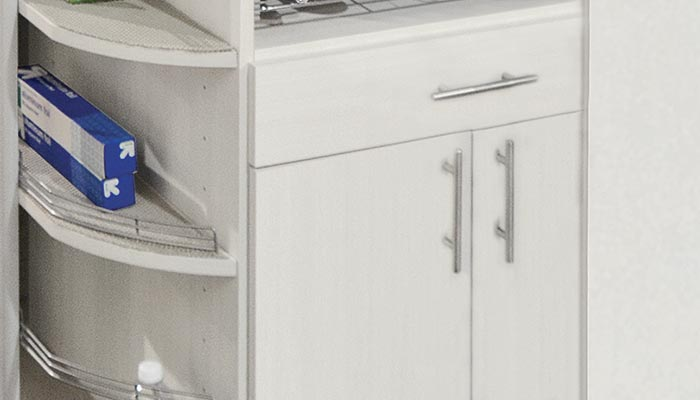 360 Organizer butler pantry cabinets with drawer organization