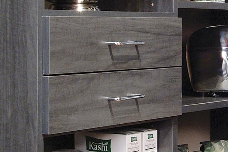 Custom pantry organization system with standard hardware in polished chrome finish