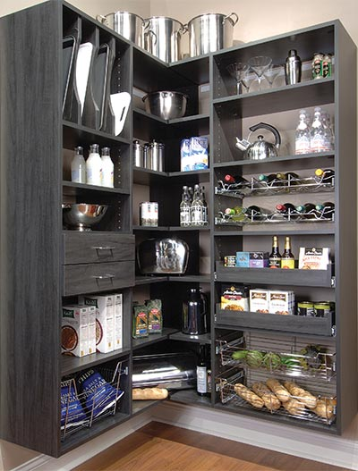 Murphy Visa Card >> Corner Pantry in Gray with Drawers, Pull-Out Pantry Shelves, Tray Organizer