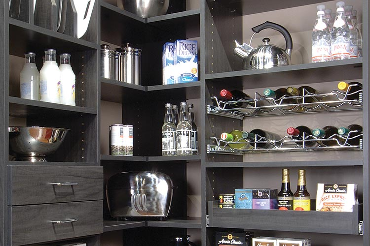 Custom pantry organization system in gray with drawers, baskets and tray organizer
