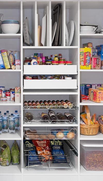 Pantry design with pull-out shelves, spice rack, wine rack, tray organizer
