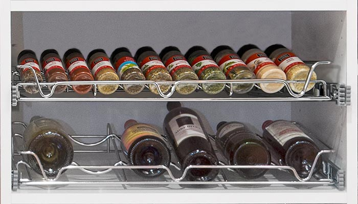 pull-out spice and wine racks