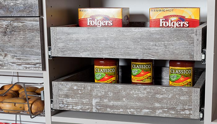 Rustic pantry shelves pull out for easy access