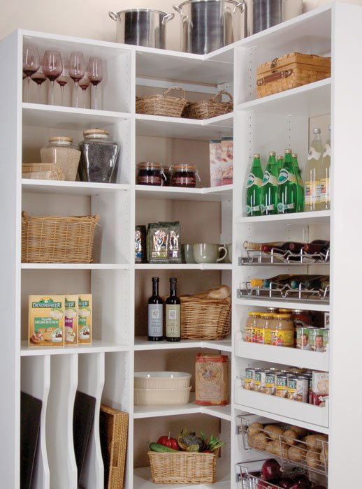 Shelving ideas for pantry organization include slide out pantry shelves