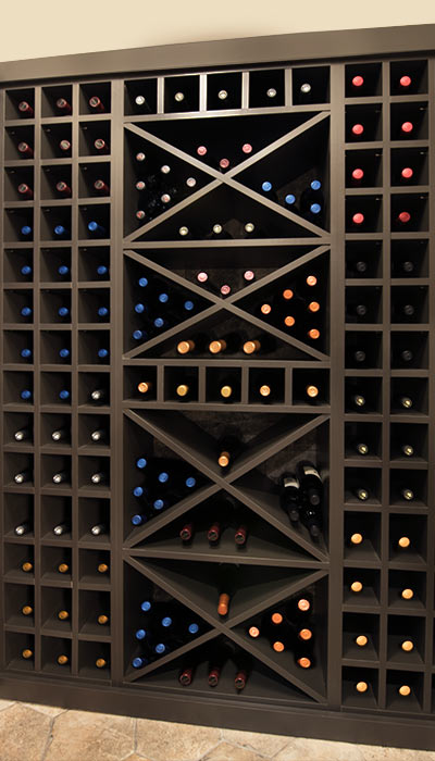Wine closet design with storge for a variety of bottle sizes