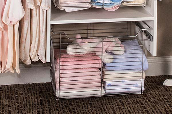 Pull-out chrome wire basket for baby closets